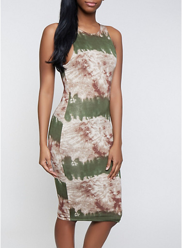 Printed Bodycon Dress | 1410062707753,OLIVE,large