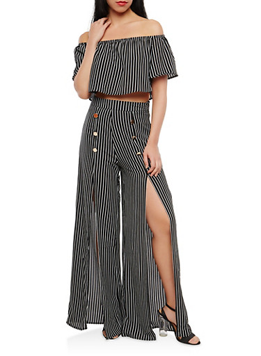 Striped Off the Shoulder Top with Palazzo Pants,BLACK,large