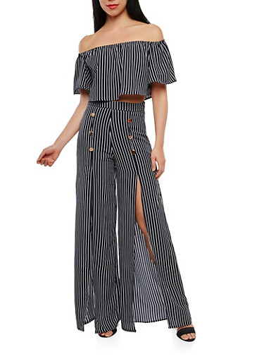 Striped Off the Shoulder Top with Palazzo Pants   Tuggl