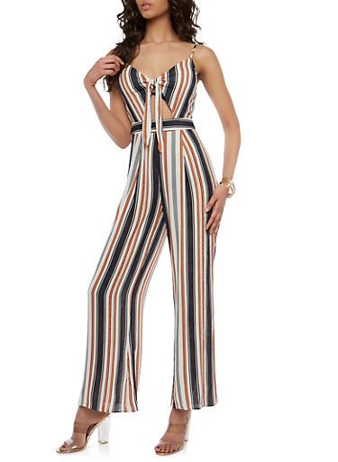Striped Keyhole Tie Front Jumpsuit,BLACK,large