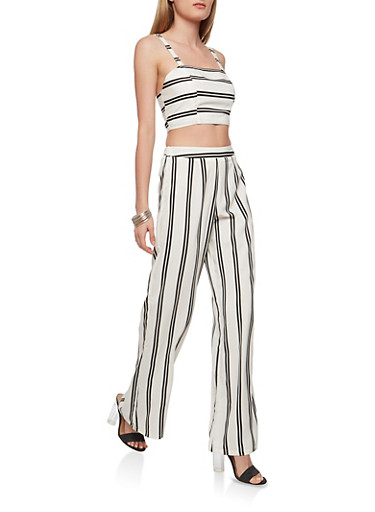 Striped Crop Top and Palazzo Pants Set,WHITE,large