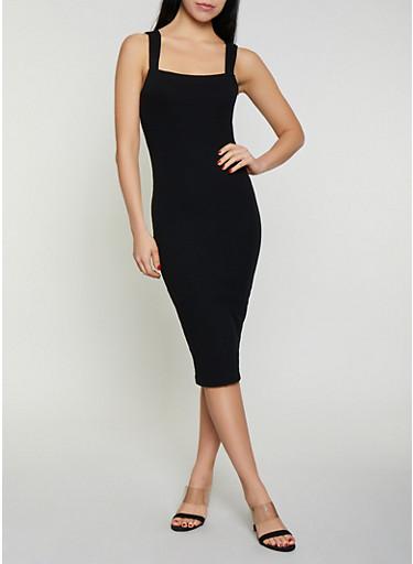 Rib Knit Midi Bodycon Dress,BLACK,large