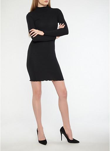 Rib Knit Long Sleeve Bodycon Dress,BLACK,large