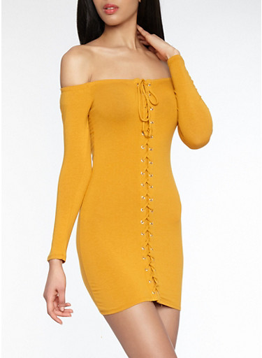 Lace Up Off the Shoulder Dress,MUSTARD,large