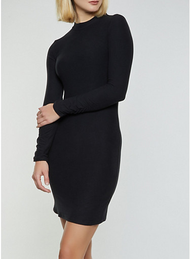 Mock Neck Bodycon Dress,BLACK,large