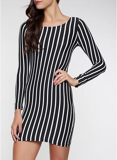 Long Sleeve Striped Bodycon Dress,BLACK/WHITE,large
