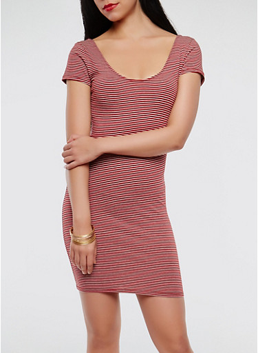 Striped Bodycon Dress,WINE,large