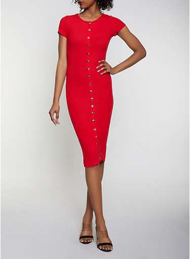 Button Front Ribbed Bodycon Dress,RED,large
