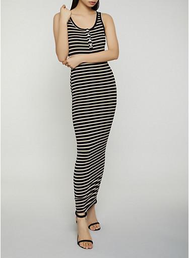 Half Button Striped Maxi Dress,BLACK,large