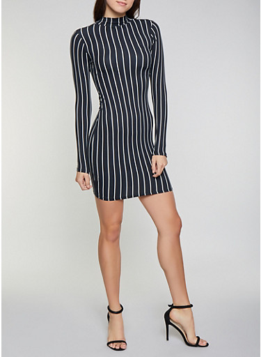 Striped Mock Neck Bodycon Dress,BLACK/WHITE,large