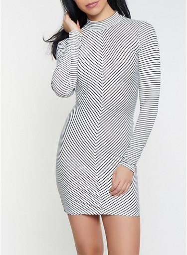 Striped Mock Neck Dress,WHITE,large