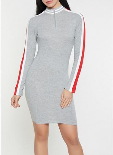 Side Stripe Half Zip Dress,HEATHER,large