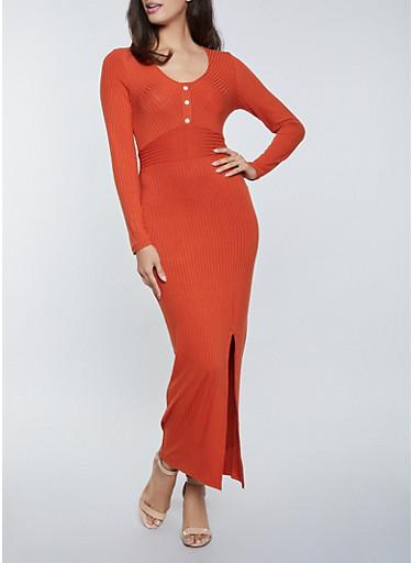 Front Slit Henley Maxi Dress,RED,large