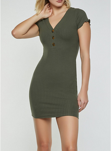 Ribbed Half Button T Shirt Dress,OLIVE,large