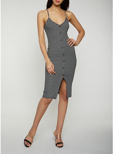 Faux Button Striped Cami Dress,BLACK,large