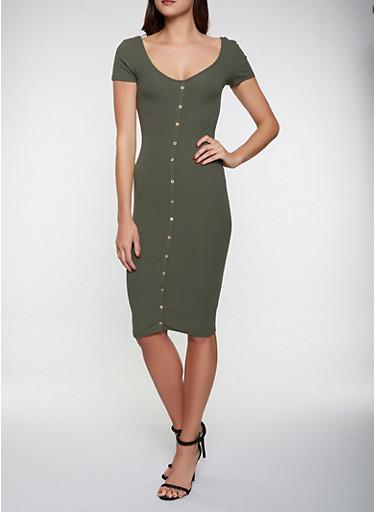 Faux Button Rib Knit Dress,OLIVE,large