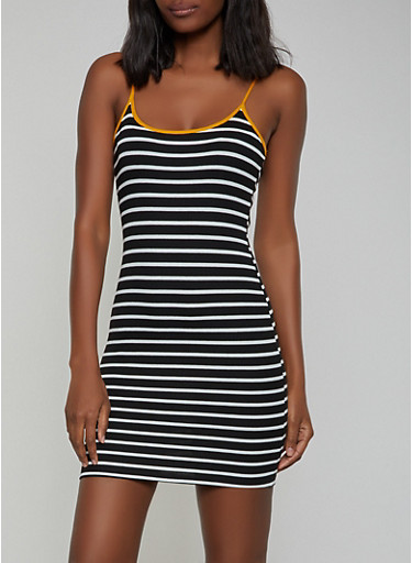 Contrast Trim Striped Tank Dress,BLACK,large