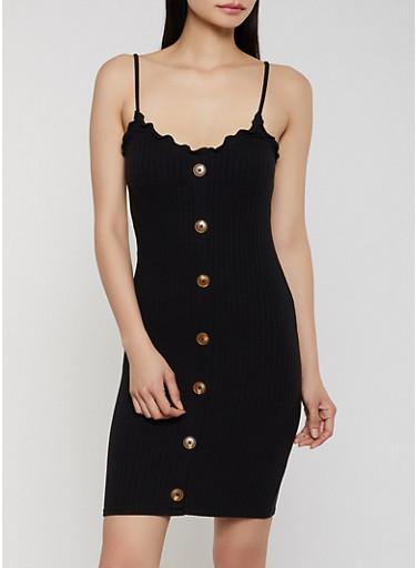 Lettuce Edge Ribbed Knit Dress,BLACK,large