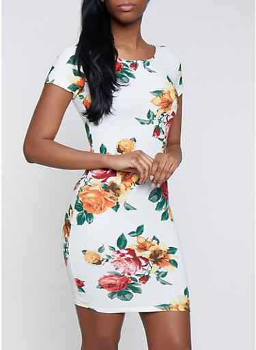 Floral Short Sleeve Bodycon Dress,WHITE,large
