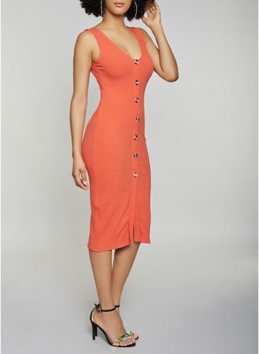 Button Detail Ribbed Knit Dress,ORANGE,large
