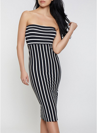 Striped Tube Bodycon Dress,BLACK,large