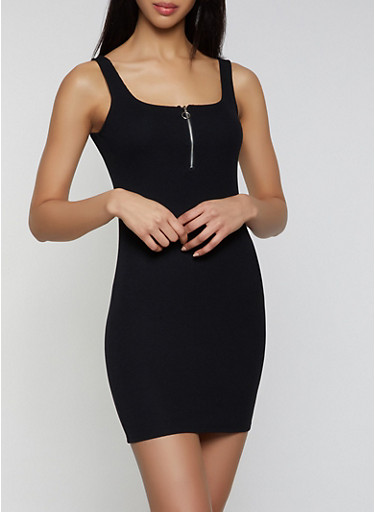 Half Zip Ribbed Knit Tank Dress,BLACK,large