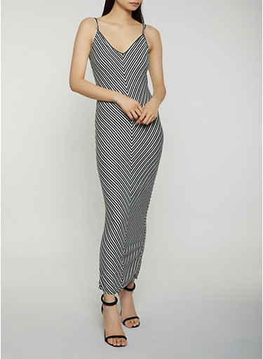 Striped V Neck Cami Maxi Dress,BLACK,large