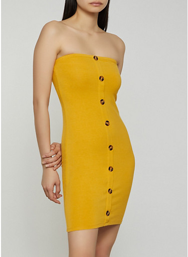 Button Front Tube Dress,YELLOW,large