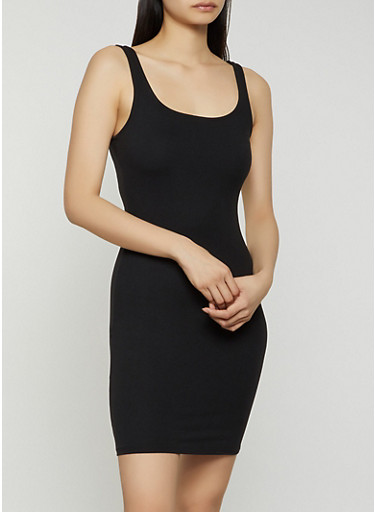 Solid Soft Knit Tank Mini Dress,BLACK,large