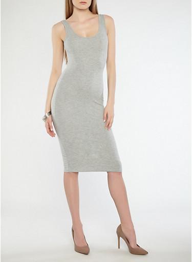 Basic Midi Tank Dress,HEATHER,large