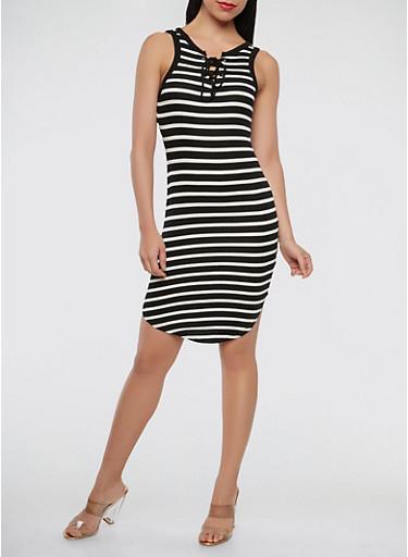 Lace Up Striped Tank Dress,BLACK/WHITE,large