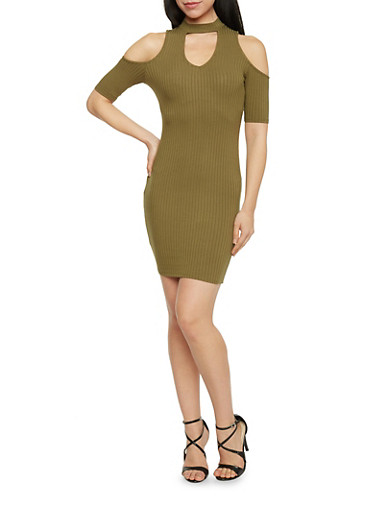 Cold Shoulder Keyhole Cut Out Dress,OLIVE,large