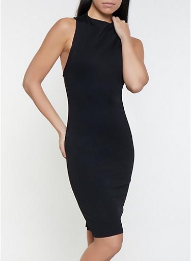 Ponte Knit Zip Back Dress,BLACK,large