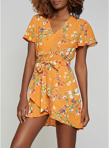 Floral Faux Wrap Ruffle Hem Dress,PEACH,large