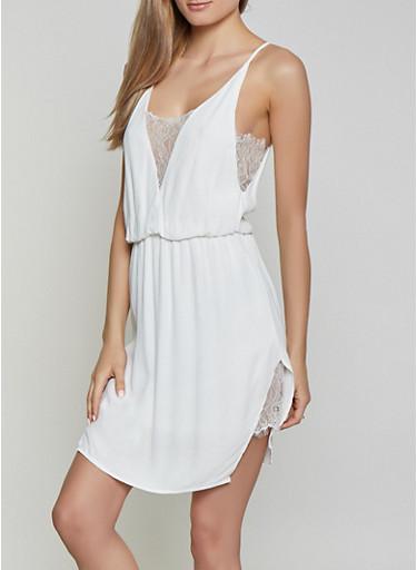 Lace Trim Slip Dress,WHITE,large