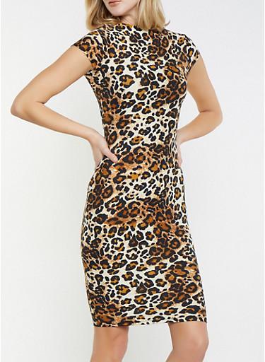 Leopard Print Mock Neck Dress,BROWN,large