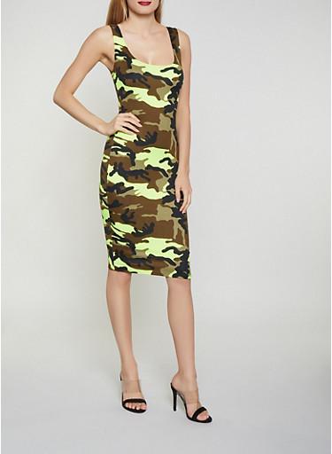 Neon Camo Tank Dress,YELLOW,large