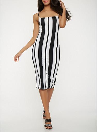 Soft Knit Striped Midi Dress,BLACK/WHITE,large