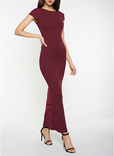 Open Back Maxi Dress,WINE,large