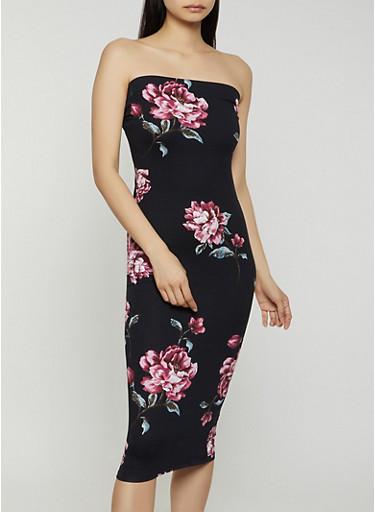 Soft Knit Floral Tube Dress,BLACK,large