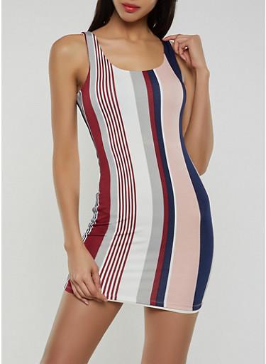 Striped Short Bodycon Dress,MAUVE,large