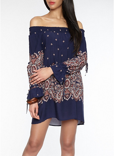 Off the Shoulder Paisley Border Print Dress,NAVY,large