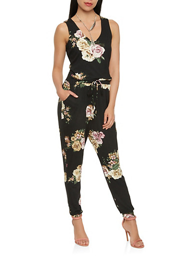 Soft Knit Floral Jumpsuit,BLACK,large