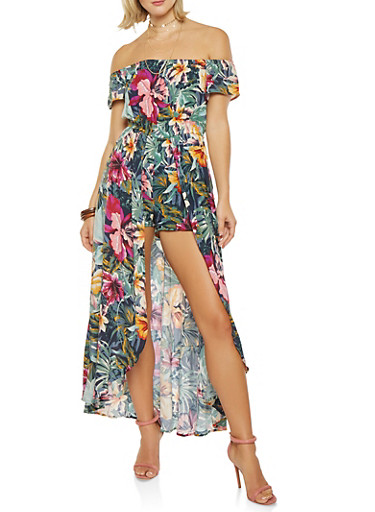 Printed Off the Shoulder Maxi Romper,GREEN,large
