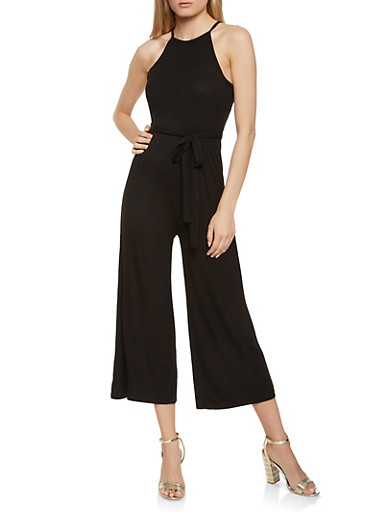 Ribbed Knit Tie Waist Jumpsuit,BLACK,large