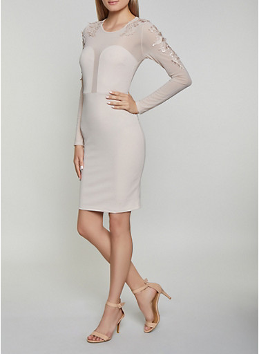 Crochet Applique Long Sleeve Bodycon Dress,NUDE,large