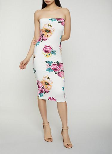 Floral Midi Tube Dress,IVORY,large