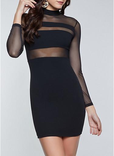 Mesh Long Sleeve Bodycon Dress,BLACK,large