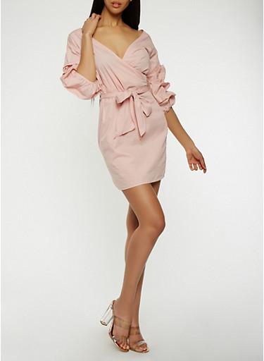 Tiered Sleeve Faux Wrap Dress,MAUVE,large