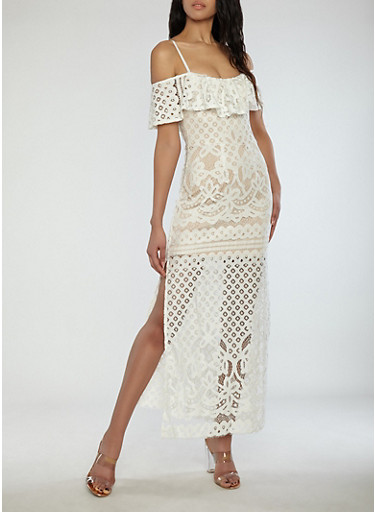 Crochet Off the Shoulder Maxi Dress,IVORY,large